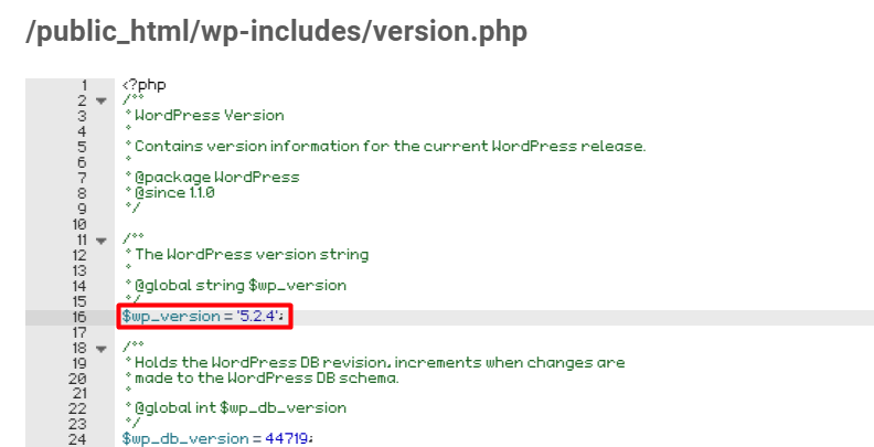 wp version php file